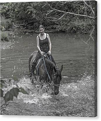 Trail Ride Canvas Print - The Biggest Splash In Town by Betsy Knapp