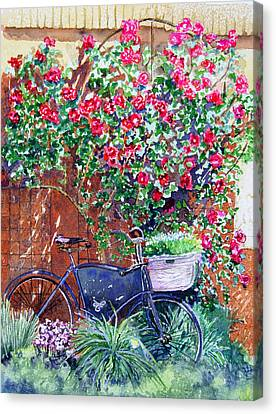 The Bike At Bistro Jeanty Napa Valley Canvas Print by Gail Chandler