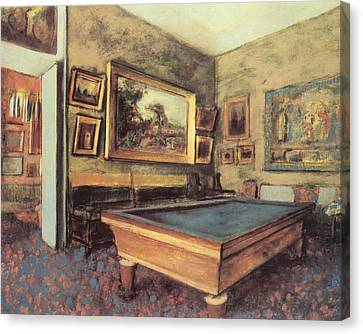 The Billiard Room At Menil-hubert Canvas Print by Edgar Degas