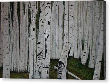Canvas Print featuring the painting The Birches.. by Betty-Anne McDonald