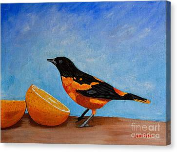 Canvas Print featuring the painting The Bird And Orange by Laura Forde