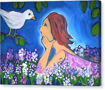 Canvas Print featuring the painting The Bird by Winsome Gunning