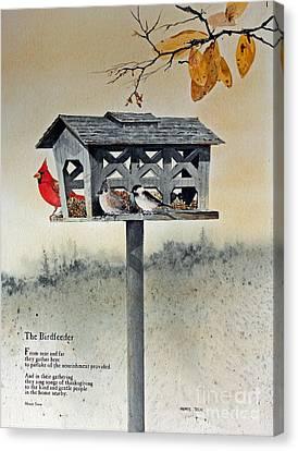 The Birdfeeder Canvas Print by Monte Toon