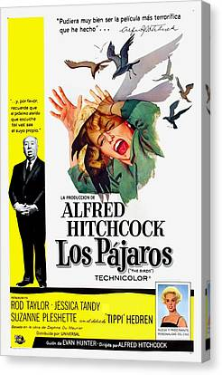 Films By Alfred Hitchcock Canvas Print - The Birds, Aka Los Pajaros, Alfred by Everett