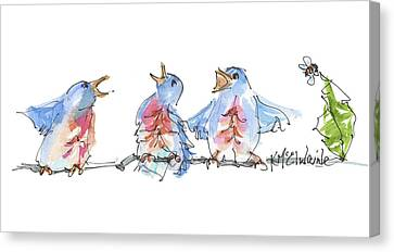 The Birds And The Bee Bird Art Watercolor Painting By Kmcelwaine Canvas Print by Kathleen McElwaine