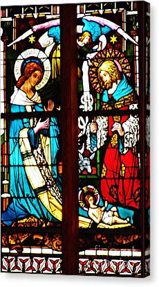 The Birth Of Christ In Stained Glass Canvas Print by Sarah Loft
