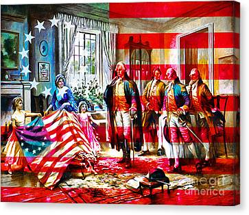 The Birth Of Old Glory With Flag 20150710 Canvas Print