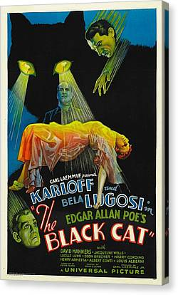 Horror Fantasy Movies Canvas Print - The Black Cat, Boris Karloff, Harry by Everett