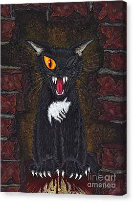 Canvas Print featuring the painting The Black Cat Edgar Allan Poe by Carrie Hawks