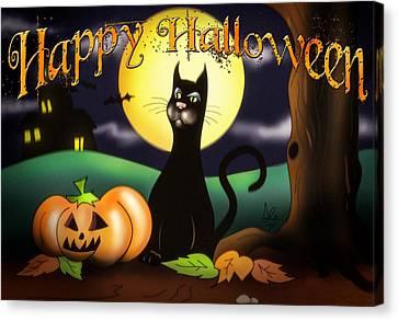 The Black Cat Greeting Card Canvas Print