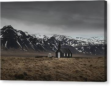 The Black Church, Iceland In Moody Weather Canvas Print