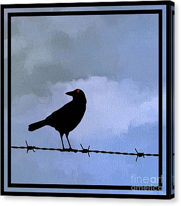 The Black Crow Knows Blue Canvas Print by Edward Fielding