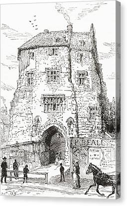 The Black Gate, The Fortified Gatehouse Canvas Print by Vintage Design Pics
