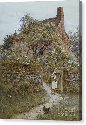 The Black Kitten Canvas Print by Helen Allingham