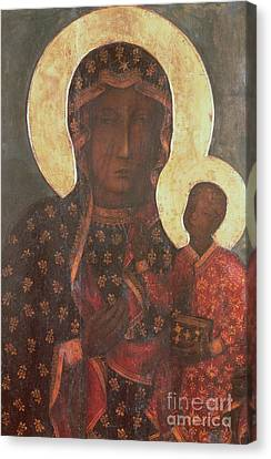 Madonna And Child Canvas Print - The Black Madonna Of Jasna Gora by Russian School