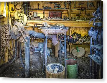The Blacksmith's Shoppe Canvas Print by Debra and Dave Vanderlaan