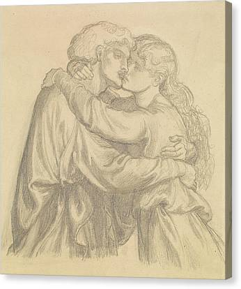 The Blessed Damozel - Study Of Two Lovers Embracing Canvas Print
