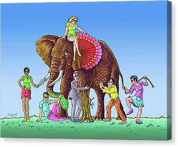 The Blind And The Elephant Canvas Print by Anthony Mwangi
