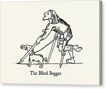 The Blind Beggar After A Medieval Canvas Print by Vintage Design Pics