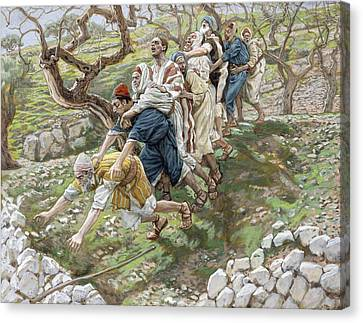 Confidence Men Canvas Print - The Blind Leading The Blind by Tissot