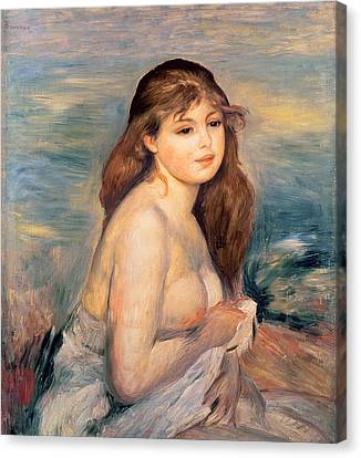 The Blonde Bather Canvas Print by Pierre Auguste Renoir