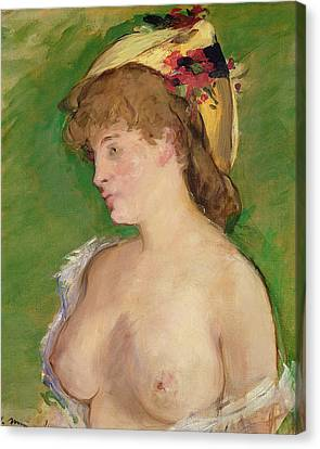 The Blonde With Bare Breasts Canvas Print by Edouard Manet