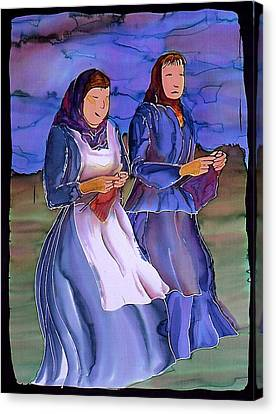 The Blowing Skirts Of Ladies Canvas Print by Carolyn Doe