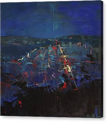Canvas Print featuring the painting The Blue by Anastasija Kraineva