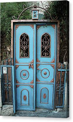 Canvas Print featuring the photograph The Blue And Gold Door Of Jerusalem by Yoel Koskas