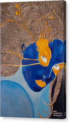 The Blue And Orangemoon Canvas Print by Anne Bazabidila