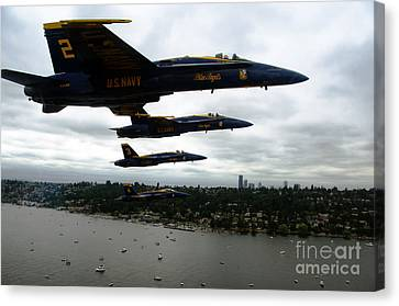 F-18 Canvas Print - The Blue Angels Flying Over Seattle by Celestial Images