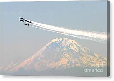 F-18 Canvas Print - The Blue Angels Over Mount Rainier Seattle by Celestial Images