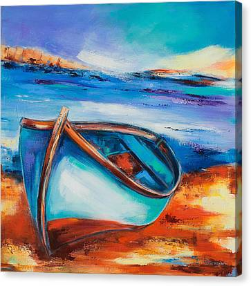 The Blue Boat Canvas Print by Elise Palmigiani