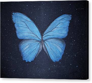 Canvas Print featuring the painting The Blue Butterfly by Edwin Alverio