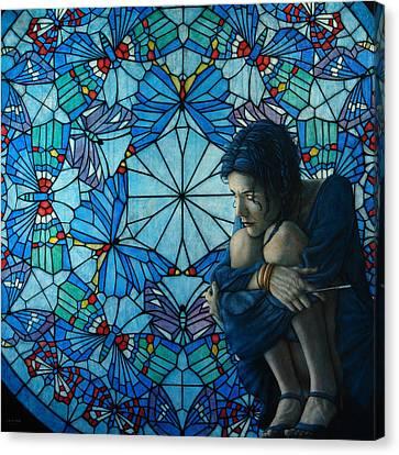 The Blue Caterpillar From Alice In Wonderland Canvas Print by Jose Luis Munoz Luque