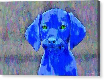 The Blue Dog - Da Canvas Print by Leonardo Digenio