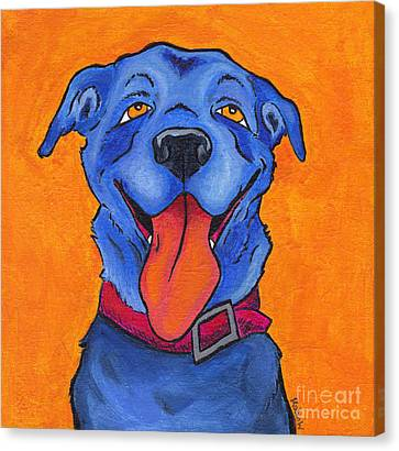 The Blue Dog Of Sandestin Canvas Print by Robin Wiesneth