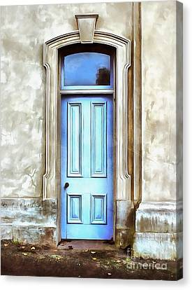 Canvas Print featuring the painting The Blue Door by Edward Fielding