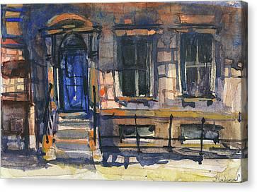 The Blue Door, New York Canvas Print by Kristina Vardazaryan