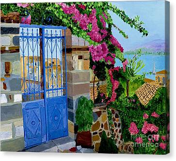 Canvas Print featuring the painting The Blue Gate  by Rodney Campbell