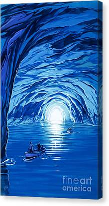 Angus Canvas Print - The Blue Grotto In Capri By Mcbride Angus  by Angus McBride