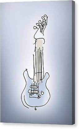 Canvas Print featuring the digital art The Blue Guitar by Keith A Link