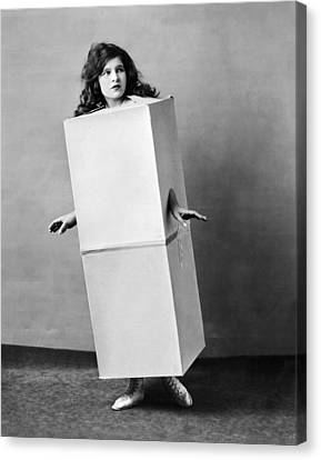Cardboard Canvas Print - The Blue Law Girl by Underwood Archives