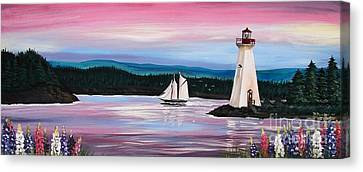 Canvas Print featuring the painting The Blue Nose II At Baddeck Nova Scotia by Patricia L Davidson