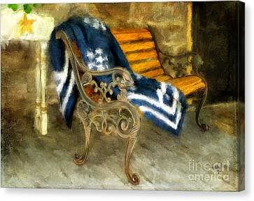 The Blue Quilt On The Bench Canvas Print by Lois Bryan