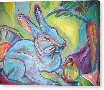 The Blue Rabbit Canvas Print by Marlene Robbins