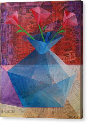 Canvas Print featuring the painting The Blue Rose Vase - Mixed Media by Mark Webster