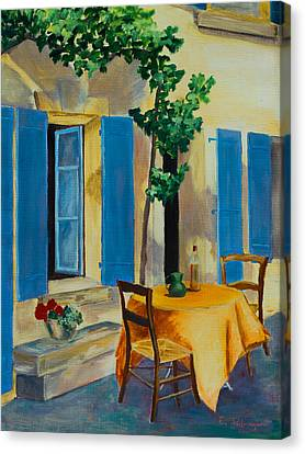 Wine Scene Canvas Print - The Blue Shutters by Elise Palmigiani