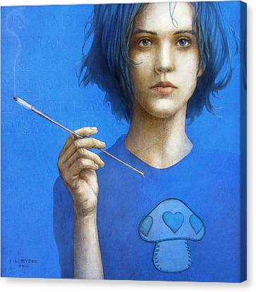 The Blue Smoker Caterpillar From Alice In Wonderland Canvas Print by Jose Luis Munoz Luque