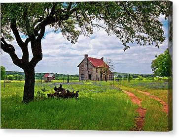 The Bluebonnet House Canvas Print by Linda Unger
